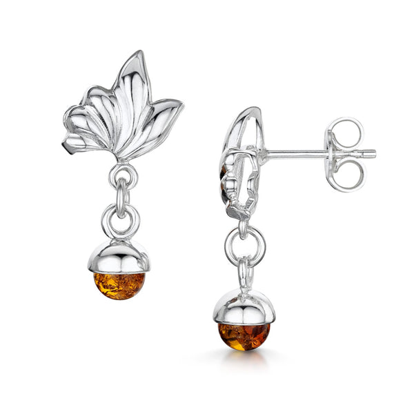 Amberta Silver Honey Amber Ball Drop Earrings