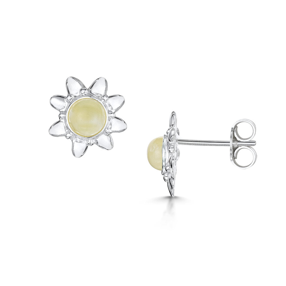 Amberta Silver White Amber Sun Stud Earrings