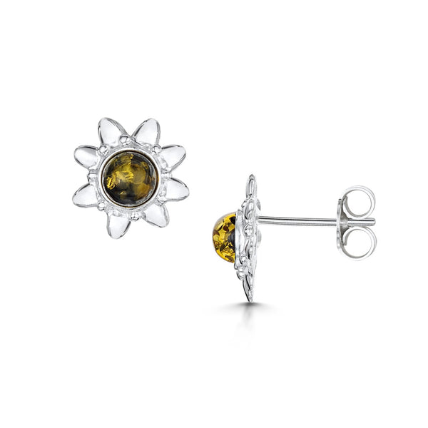 Amberta Silver Green Amber Sun Stud Earrings