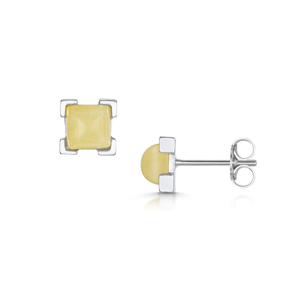 Amberta Silver White Amber Rectangular Stud Earrings