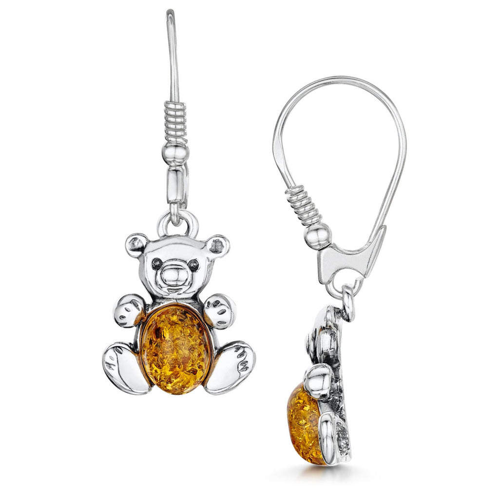 Amberta Silver Honey Amber Teddy Bear Drop Earrings