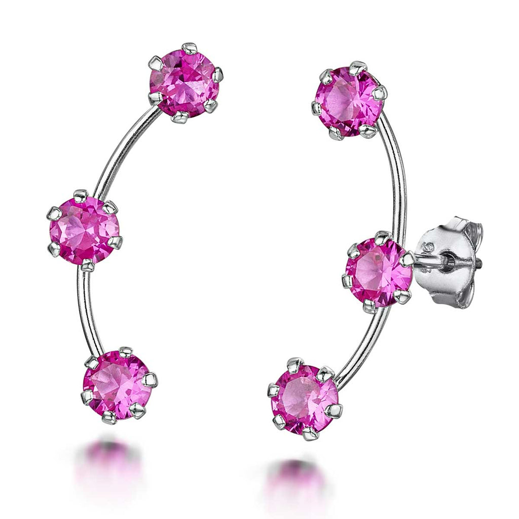 Amberta Pink Zirconia Climber Earrings Women