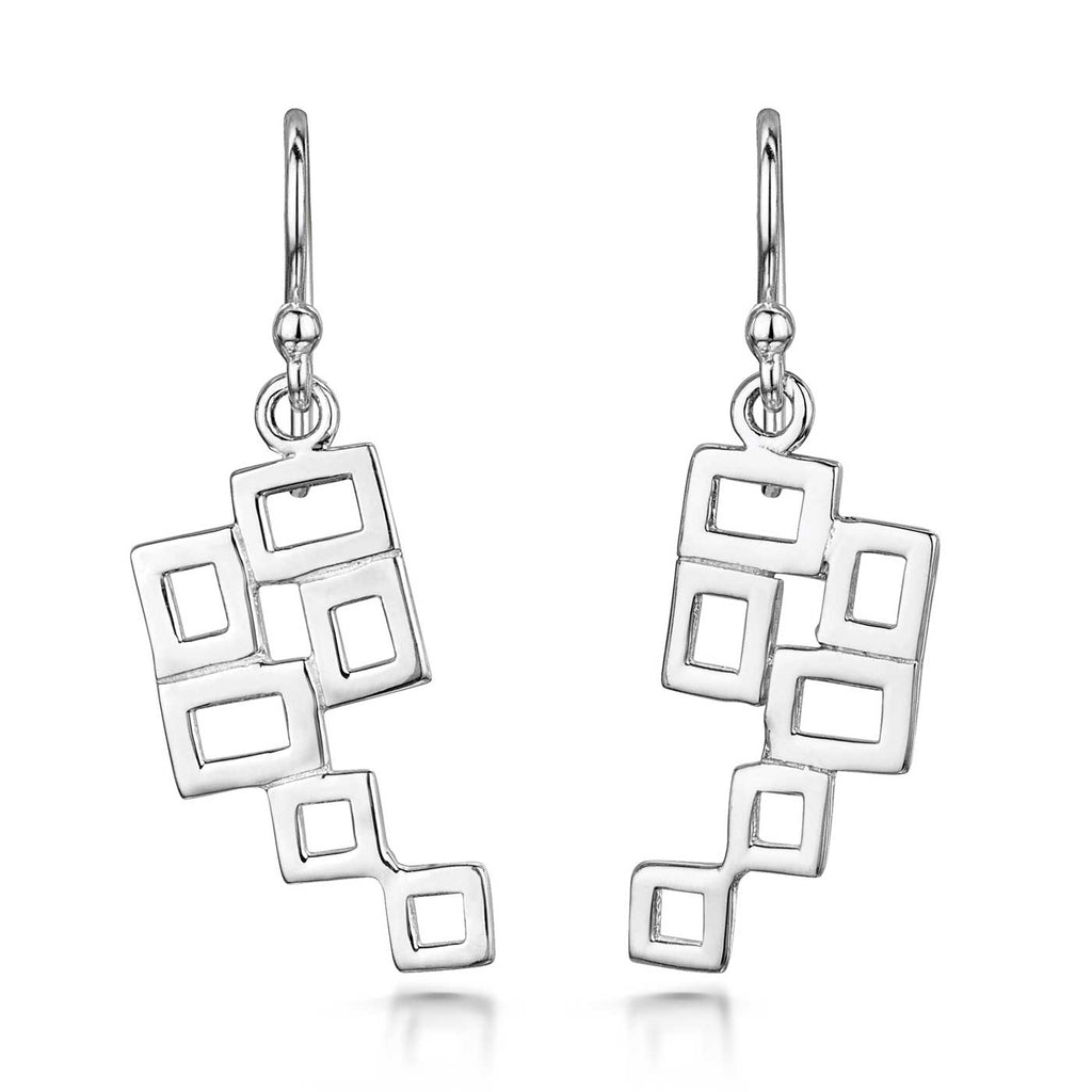 Amberta Silver Square Geometric Drop Earrings