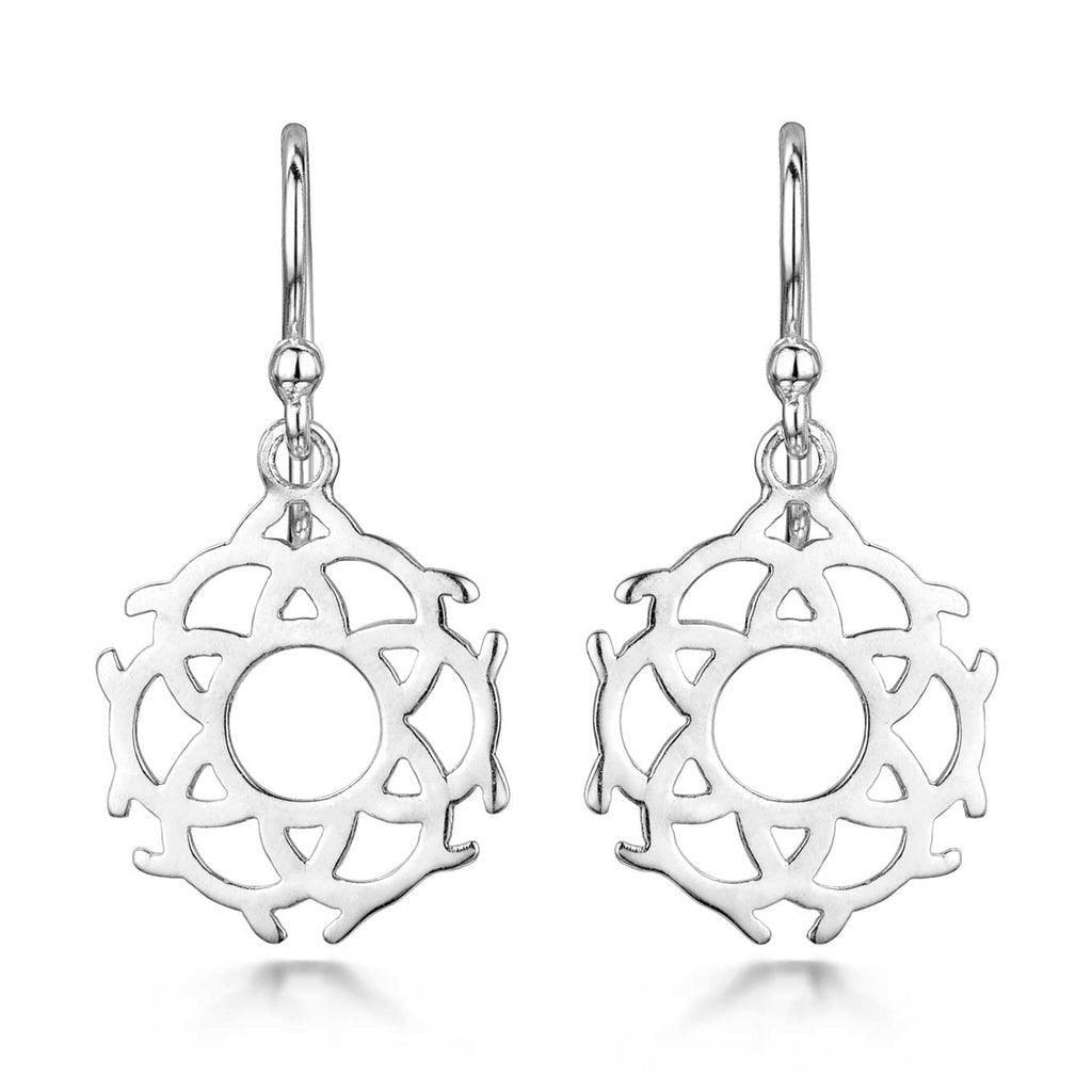 Amberta Silver Mandala Drop Earrings