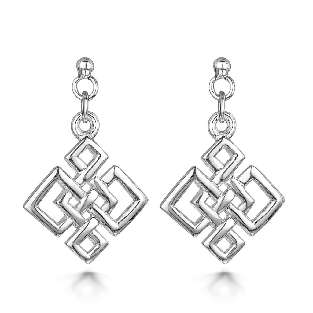 Amberta Silver Irish Knot Drop Earrings