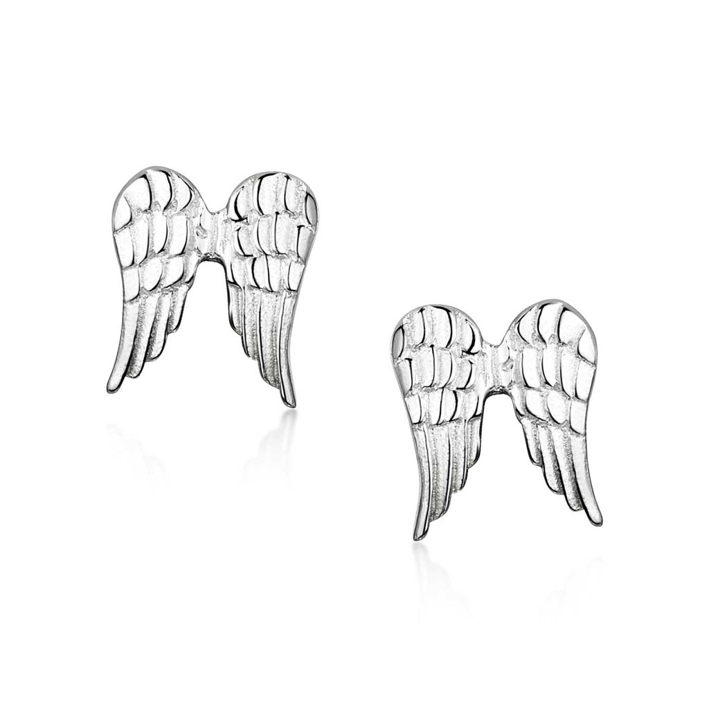 Amberta Silver Angel Wings Stud Earrings