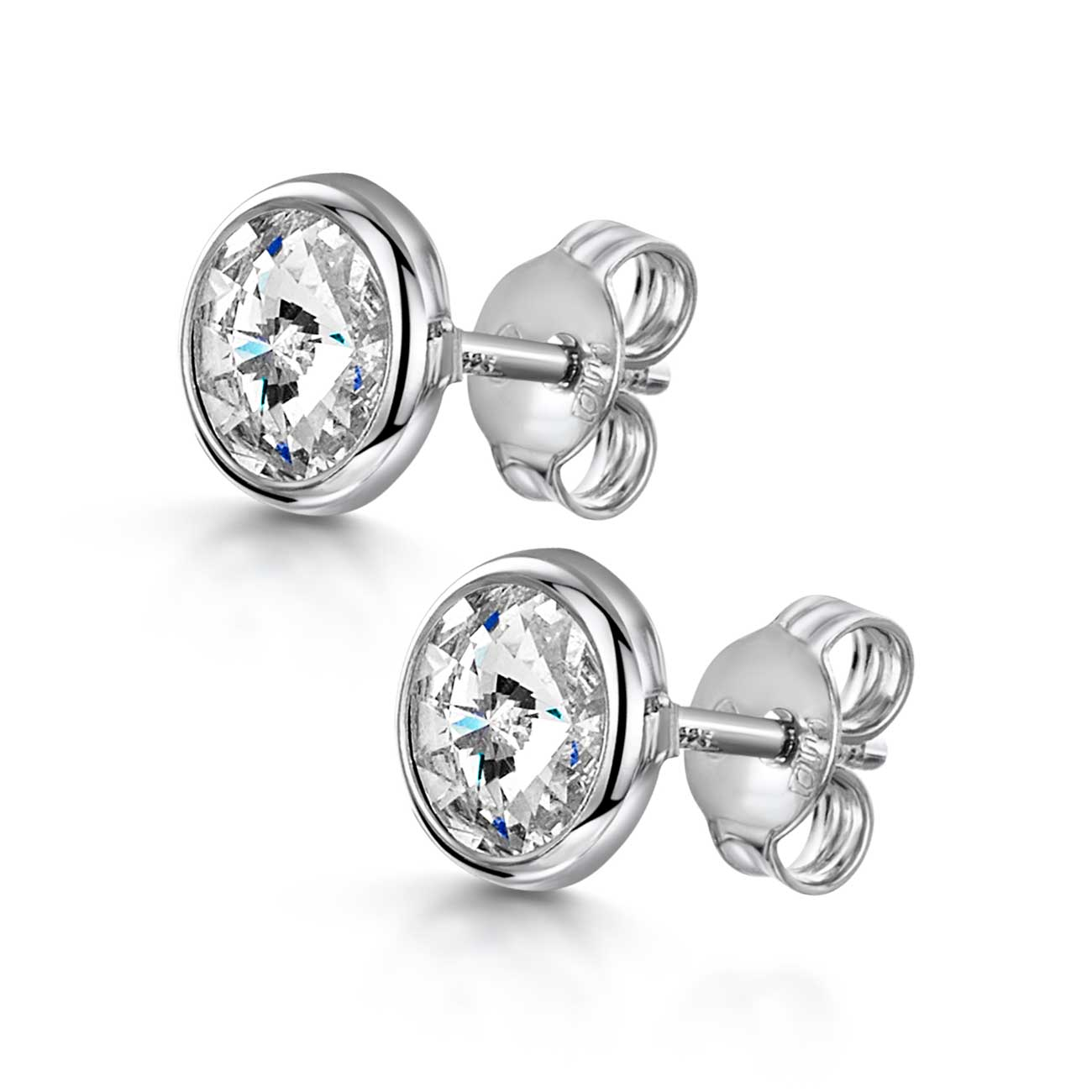 Amberta Silver Round Swarovski Clear Stud Earrings