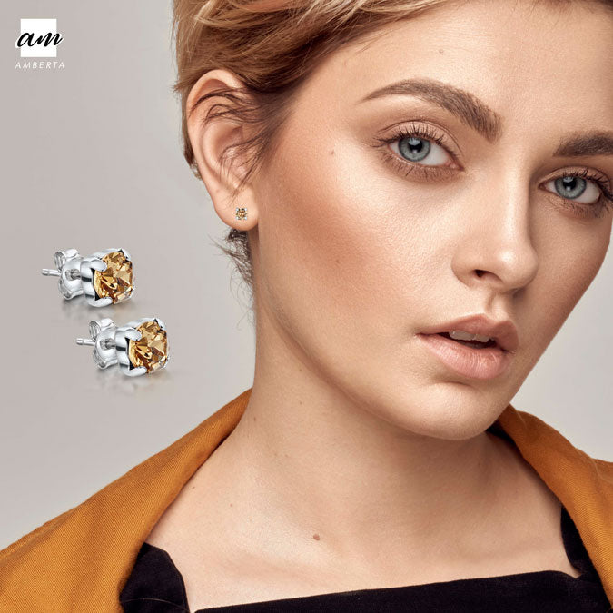 Amberta Silver Yellow Lumini Crystal Stud Earrings Model