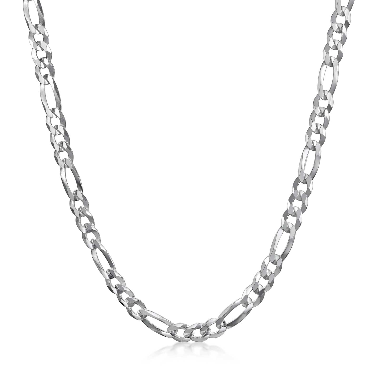 Amberta Men's Silver 4.7 mm Flat Figaro Chain