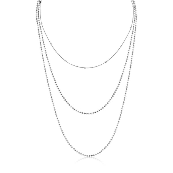 Silver Multilayer Snake and Ball Chain Necklace