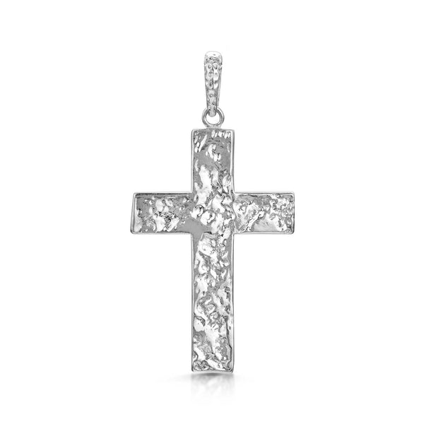 Amberta Silver Hammered Cross Pendant