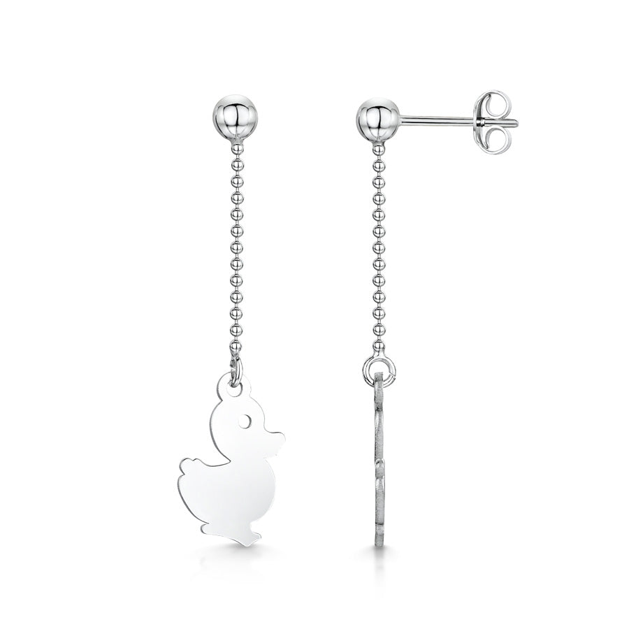 Amberta Silver Duck Drop Earrings
