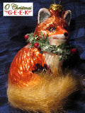 Glass Red Fox With Wreath