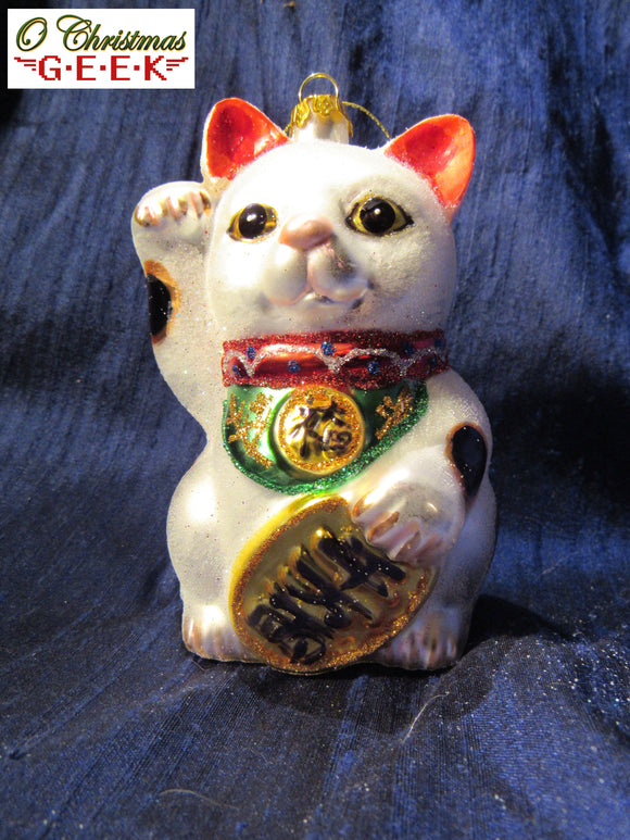 Maneki-Neko Glass Ornament