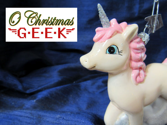 Pink Glass Baby Unicorn Ornament