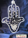 Hamsa Hand Glass Ornament