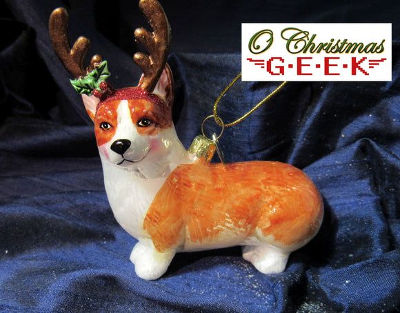 Antlered Glass Corgi Ornament