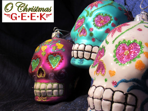 Dia Los Muertos Bright Glass and Glitter Sugar Skull Ornaments