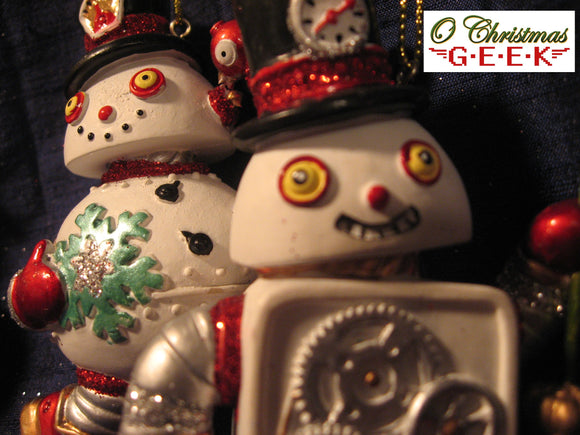 Snowbot Ornaments With Resin and Glitter