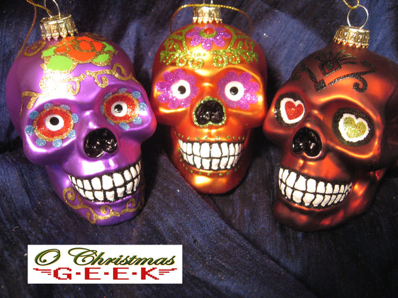 Dia Los Muertos Glass Skull Ornaments Orange or Red