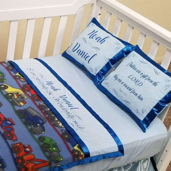 Personalized Auto Print Baby Blanket and Pillows - I am fearfully and wonderfully made