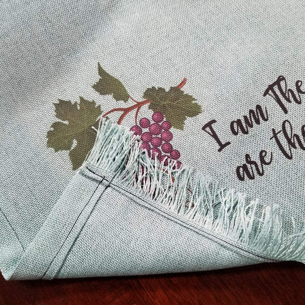 Table Runner with Matched Pillows - Light Green - I am the Vine John 15:5