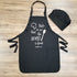 Chef Apron & Hat - Black - Hand Printed - Taste and see that the Lord is Good Psalm 34:8