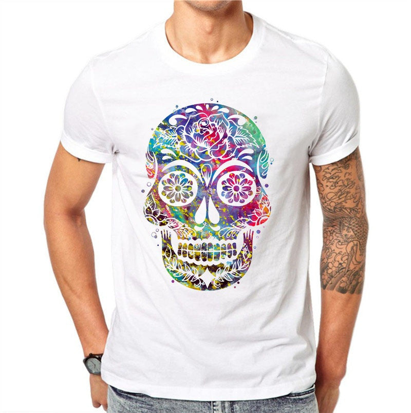 100% Cotton Men T Shirts Fashion Hollow Skull Design Short Sleeve Casual Tops Colorful Printed T-Shirt White Tee