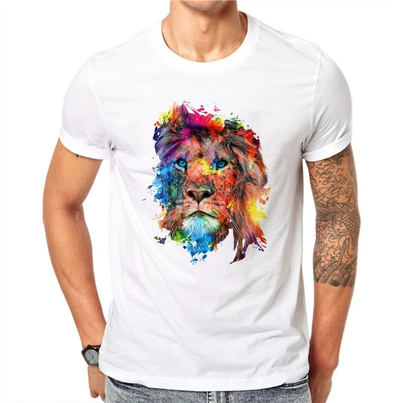 100% Cotton Colorful Lion Design Men T Shirts Summer Fashion Short Sleeve Casual White Tops Animal Printed T-Shirt Cool Tee