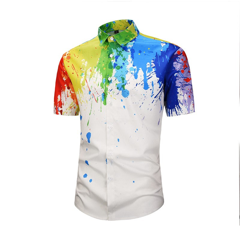 Men's Summer Flow Ink Printed Shirts Fashion Leisure Street Youth Large Shirts New Style