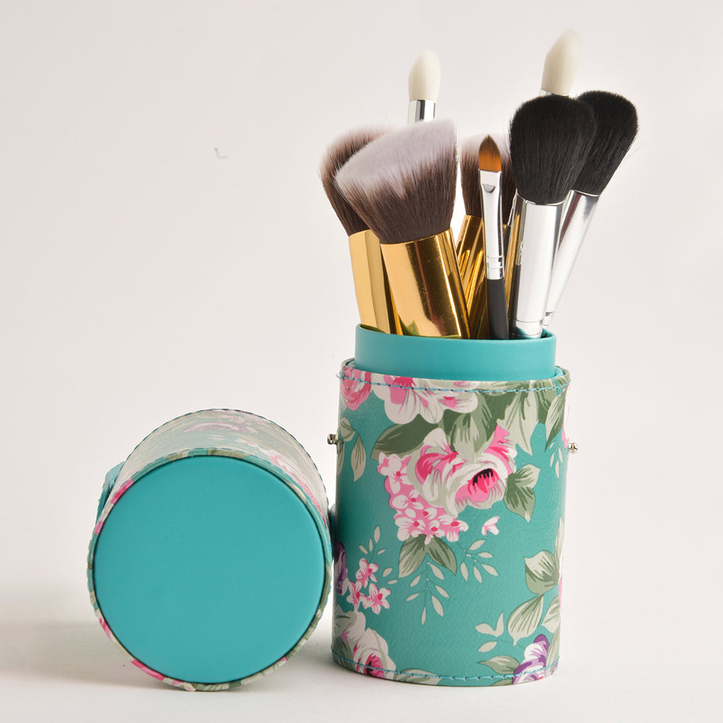 Leather Cosmetics Storage Case - Floral Green tubby case
