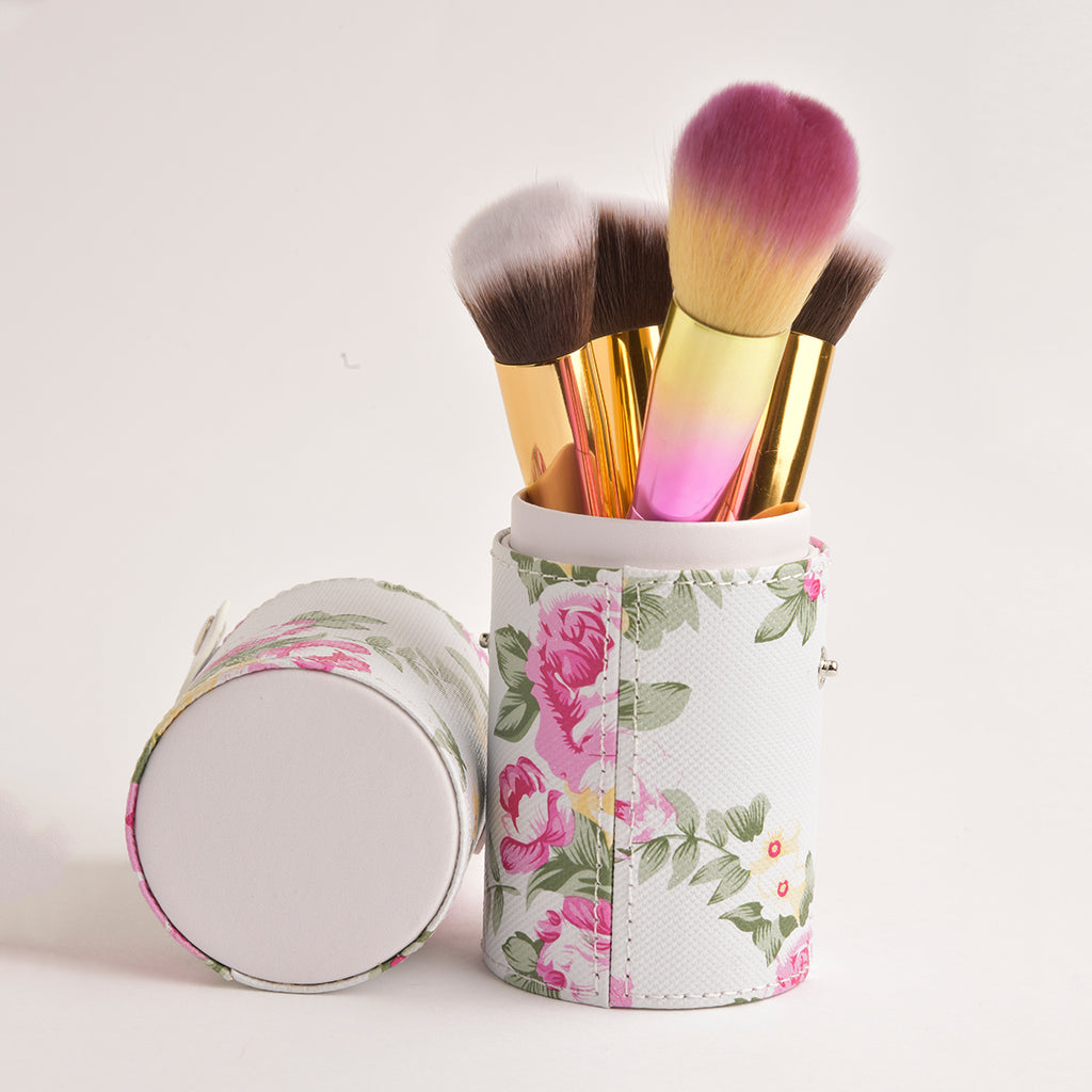 Leather Cosmetics Storage Case - Floral tubby case