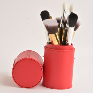 Leather Cosmetics Storage Case - Red Gold tubby case