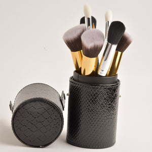 Leather Cosmetics Storage Case - Black tubby case