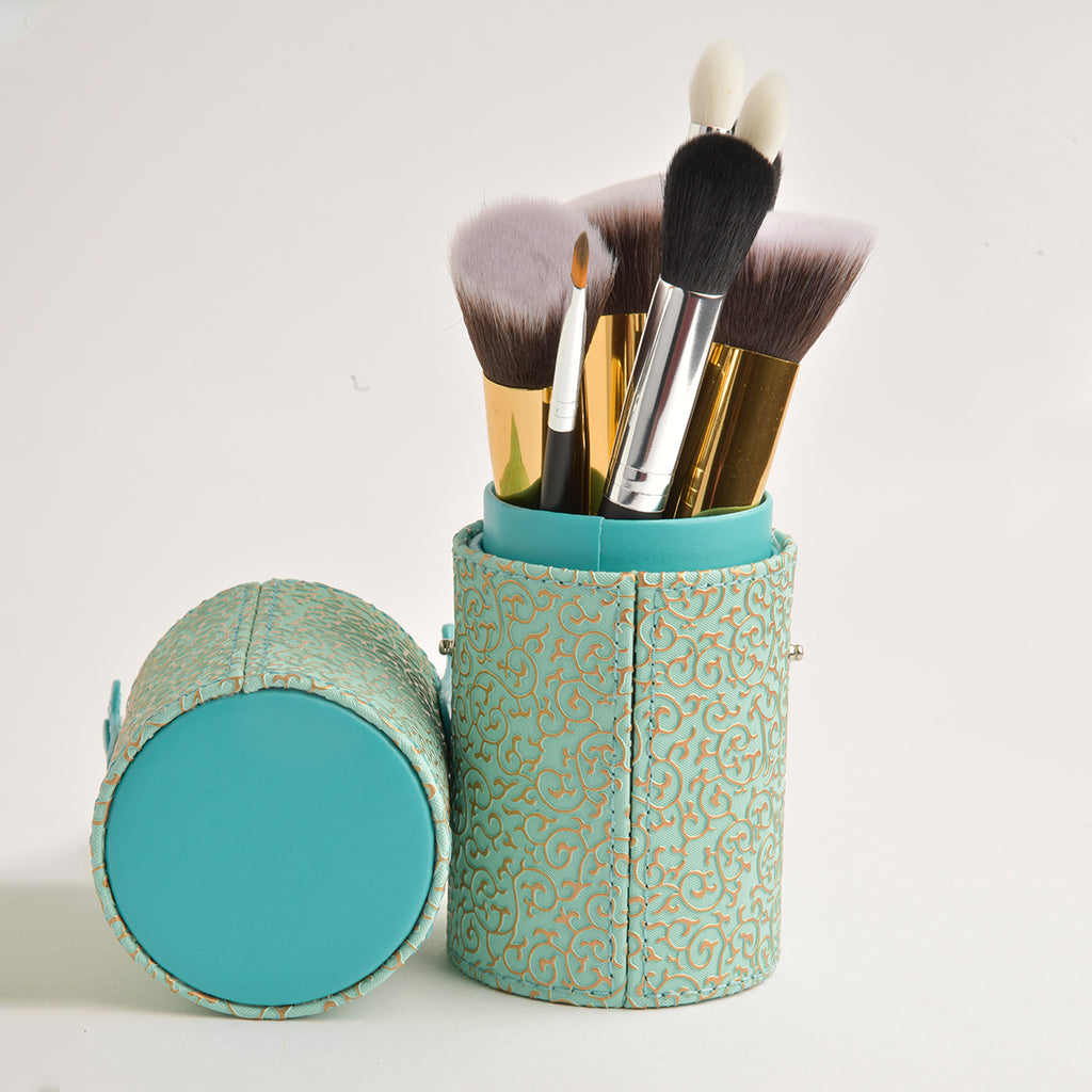 Leather Cosmetics Storage Case - Gold Green tubby case