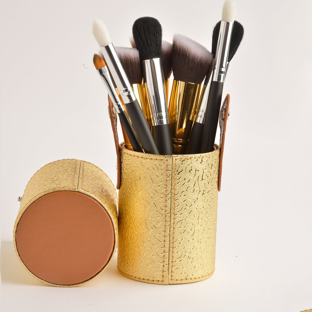 Leather Cosmetics Storage Case - Gold tubbycase