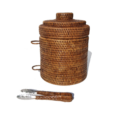 Rattan Ice Bucket with Tongs