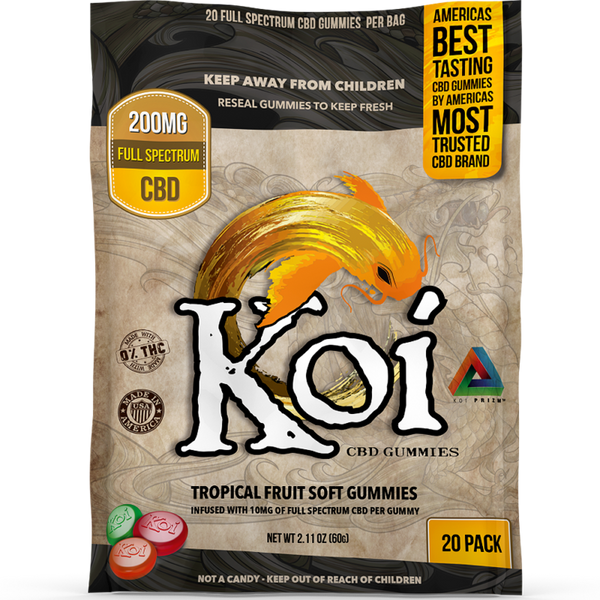 Koi CBD Tropical Fruit Soft Gummies 20 Pack - Regular or Sour