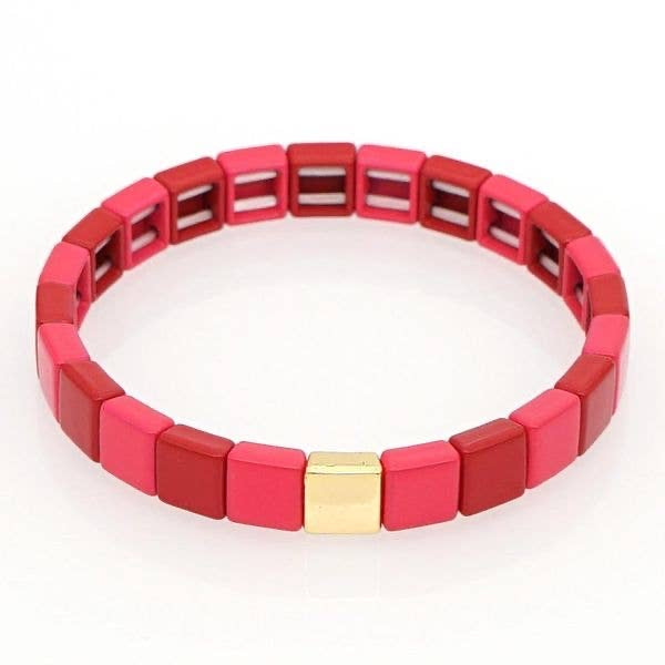Shades of Red Tile Bracelet