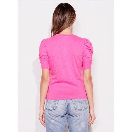 Short Sleeve Puff Top - Fuscia