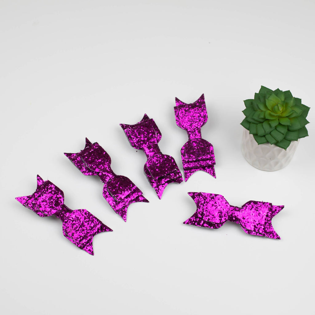 Purple Glittered Hair Bows (set of 5)