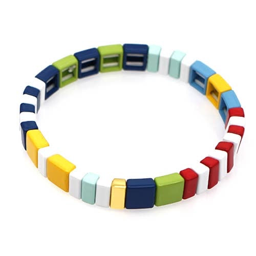 White Bright Tile Bracelet