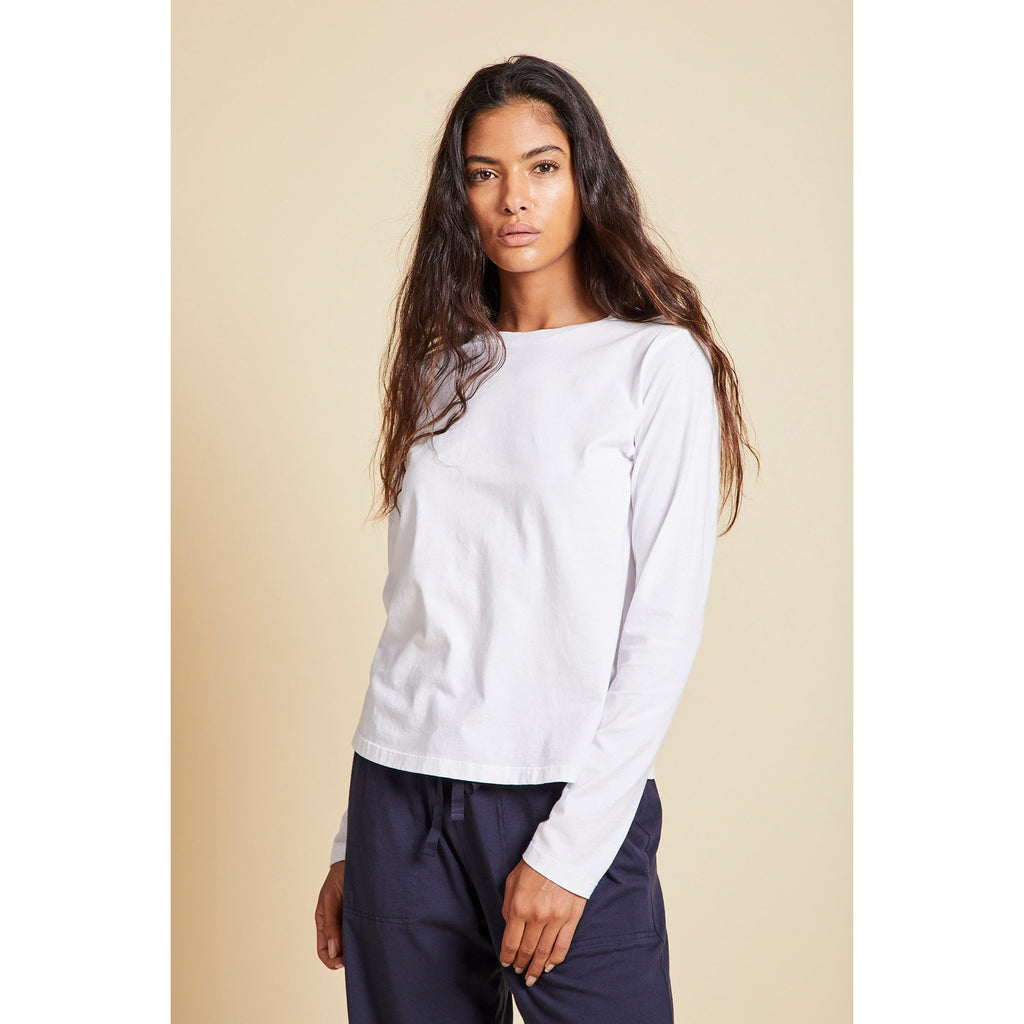 Vincente Jersey Crew Long Sleeve Tee  in White