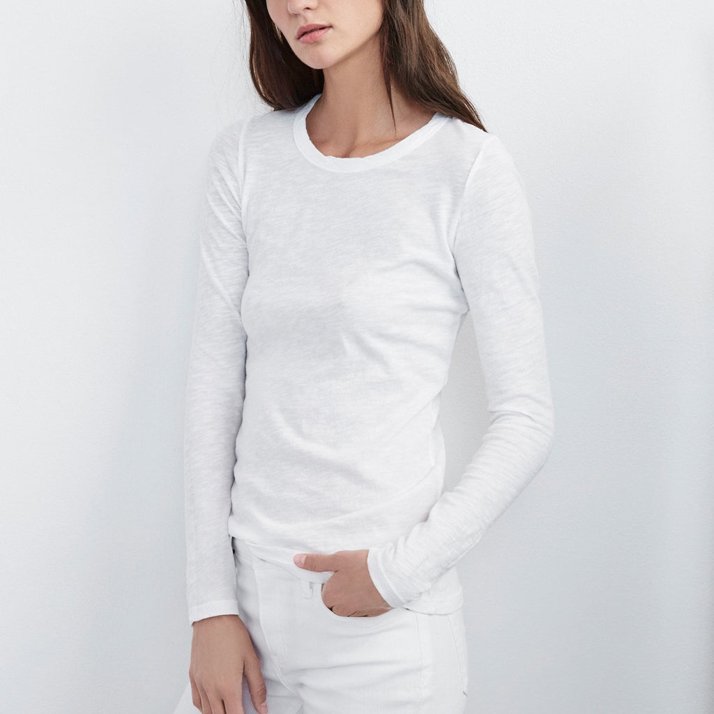 Lizzie Original Slub Long Sleeve White Tee By Velvet