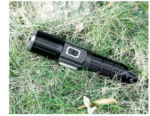 Ultra Bright Waterproof Tactical LED Flashlight with Warning Light and Rechargeable