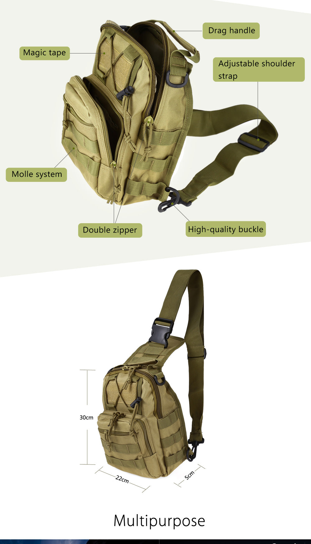 Cross Body Hunting/Hiking Tactical Backpack