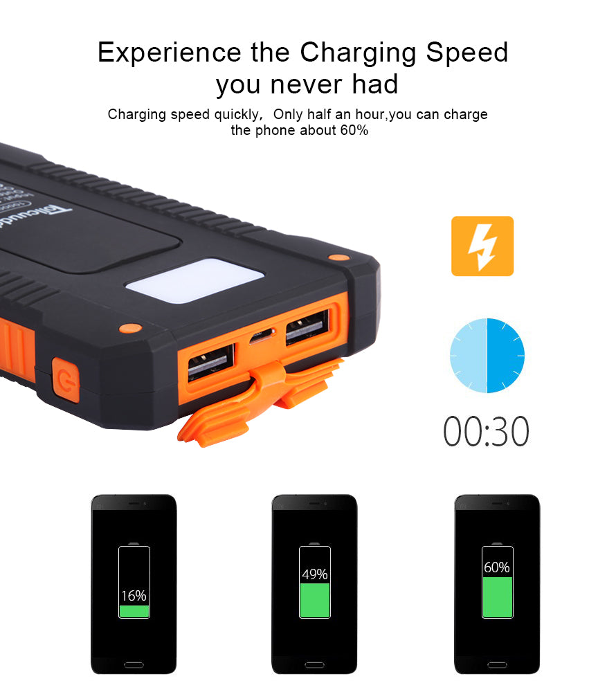 Waterproof 10000mAh Portable Compass Solar Charger Dual USB Battery Power Bank