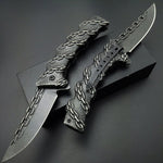 Stonewash Stainless Steel Chain Folding Tactical Knife