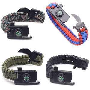 Braided Paracord Bracelet Multi-function Outdoor Survival Camping Rescue Emergency Rope Bracelets Escape Tactics Wrist Strap