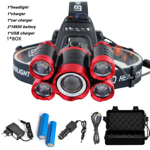 CREE XML 5*T6 HEADLIGHTS 3000 LUMENS WITH 4 MODE ZOOM + FREE CARRY BOX